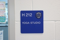 Highland Park High School (Highland Park, IL); ADA Tactile & Braille Room Sign with HP Crest