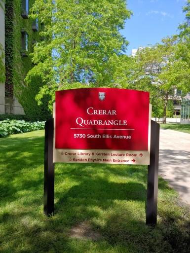 Crerar Quadrangle (University of Chicago); Post & Panel Sign
