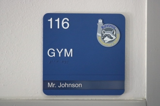 Ravinia Elementary School (Highland Park, IL); ADA Tactile & Braille Room Sign with Ravinia Crest + 1 Window unit