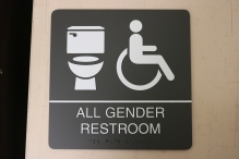 Illinois State University (Normal, IL); ADA Compliant All Gender Restroom Sign with Tactile & Braille