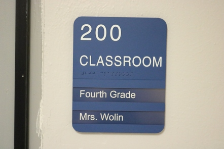 Ravinia Elementary School (Highland Park, IL); ADA Tactile & Braille Room Sign with two window units
