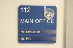 Ravinia Elementary School (Highland Park, IL); ADA Tactile & Braille Room Sign with Ravinia Crest + 2 window units