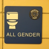 Highland Park High School (Highland Park, IL); ADA Tactile and Braille All Gender Restroom Sign + Logo