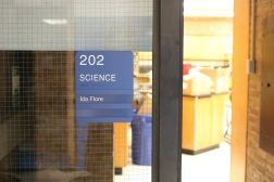 Northwood Junior High (Highland Park, IL); ADA Tactile and Braille Science Room Sign with 2 Window Units