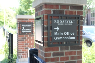 Roosevelt Middle School (Norridge, IL); Etched Aluminum Directional Signs