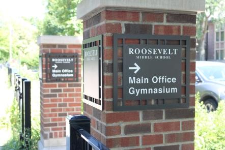 Roosevelt Middle School (Norridge, IL); Etched Aluminum Directional Signs