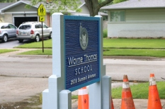 Wayne Thomas Elementary School (Highland Park, IL); Wooden-Post and HDU Panel, Double-Faced, Monument sign with Simulated Wood Grain + Raised Letters & Logo