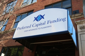 Preferred Capital Funding (Chicago, IL); Marquee Metal Awning Sign Refaced with New Lexan-Base with Exterior Grade Digital Print