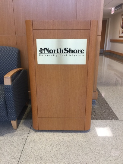 NorthShore University HealthSystem (Highland Park, IL); Etched Sign with Black Enamel Fill
