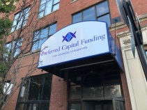 Preferred Capital Funding (Chicago, IL); Fabricated Marquee PCF Awning Face with Exterior Grade Digital Print