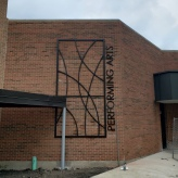 "Performing Arts Center (Glen Ellyn, IL); 3/4"" thick, Water-Jet Cut, Aluminum Wall Graphics"