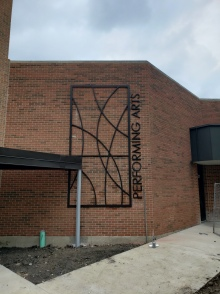 """Performing Arts Center (Glen Ellyn, IL); 3/4"""" thick, Water-Jet Cut, Aluminum Wall Graphics"""