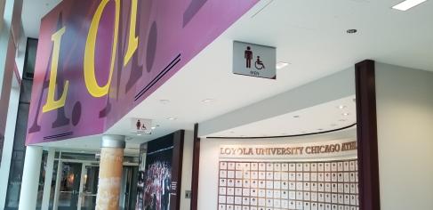 Gentile Arena (Loyola University); Hanging Restroom Signs