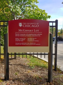 McGiffert Lot (University of Chicago); Aluminum Post and Panel Sign