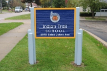 Indian Trail Elementary School (Highland Park, IL); Wooden-Post and HDU Panel, Double-Faced, Monument sign with Simulated Wood Grain + Raised Letters & Logo