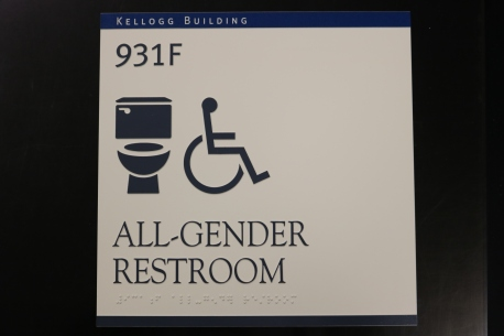 Rush University Medical Center (Chicago, IL); ADA Tactile and Braille All Gender Restroom Sign + Top Color Band ID