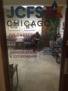 JCFS Chicago (216 W. Jackson, Chicago, IL); High Performace, Precision Cut, Digitial Print on Glass