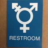 American Institute of Physics (College Park, MD); ADA Tactile and Brialle, All Gender Restroom Sign with Tri-Symbol Pictogram