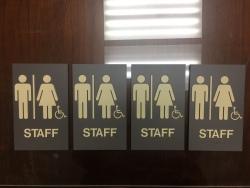 Crete Monee SD 201-U (Crete, IL); ADA Tactile and Braille Staff Restroom Signs