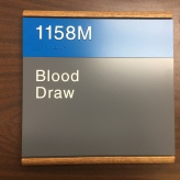 Highland Park Hospital (Blood Draw); ADA Tactile and Braille Room Sign with Wood Frame