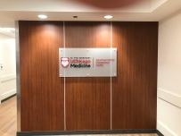 University of Chicago (DCAM Hospital); Frosted Acryilic UCMED Sign with Painted Dimensional Letters + Logo with Satin Aluminum Standoffs