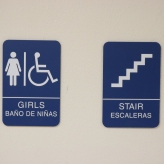 Braeside Elementary School (Highalnd Park, IL); ADA Tactile & Braille Girls' Restroom + Stair Sign
