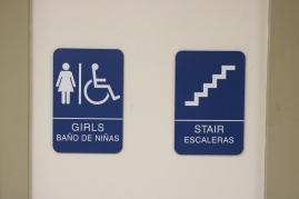 Braeside Elementary School (Highalnd Park, IL); ADA Tactile & Braille Girls' Restroom + Stair Sign