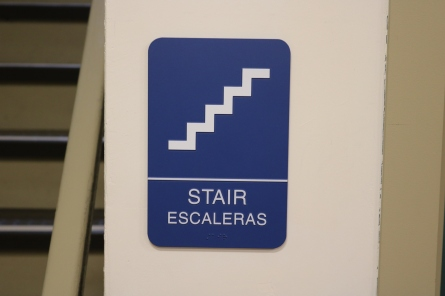 Braeside Elementary School (Highland Park, IL); ADA Tactile and Braille Stair sign with Spanish Copy