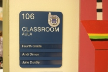 Braeside Elementary School (Highalnd Park, IL); ADA Tactile & Braille Classroom Sign with 3 Window Units + 3 Inserts with High Performance Vinyl Copy + Logo