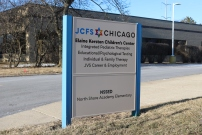 Elaine Kersten Children's Center (Northbrook, IL); JCFS Branded Post & Panel Sign Box Repainted, Refinished + Installed