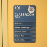Braeside Elementary School (Highalnd Park, IL); ADA Tactile & Braille Classroom Sign with 5 Window Units + 5 Inserts with High Performance Vinyl Copy + Logo
