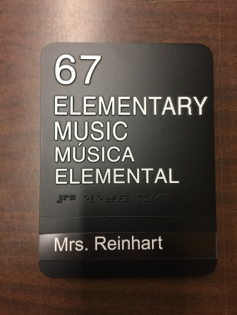 Arcola SD 306 (Arcola, IL); ADA Tactile and Braille Elementary Music Sign with 1 Window Unit + Insert with High-Performance Vinyl Copy